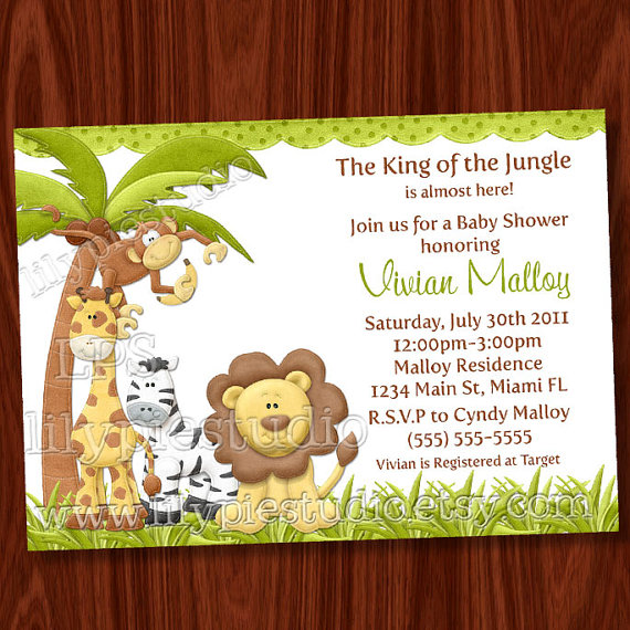 8 best images of jungle baby shower invitations printable for Baby shower party junge