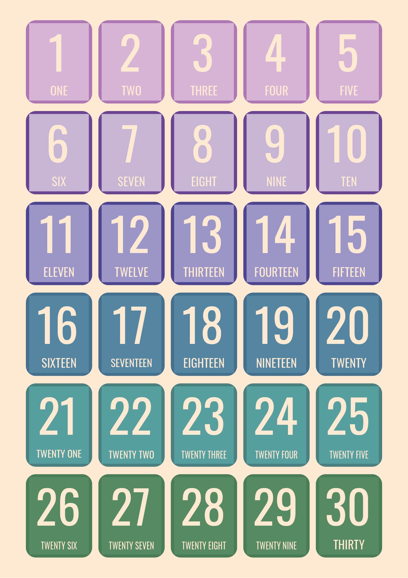 ... 30, Printable Number Chart 1 30 and Printable Number Cards 0 100
