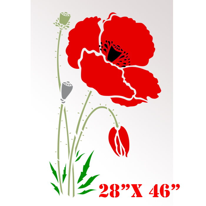 5 Images of Free Printable Poppy Stencil