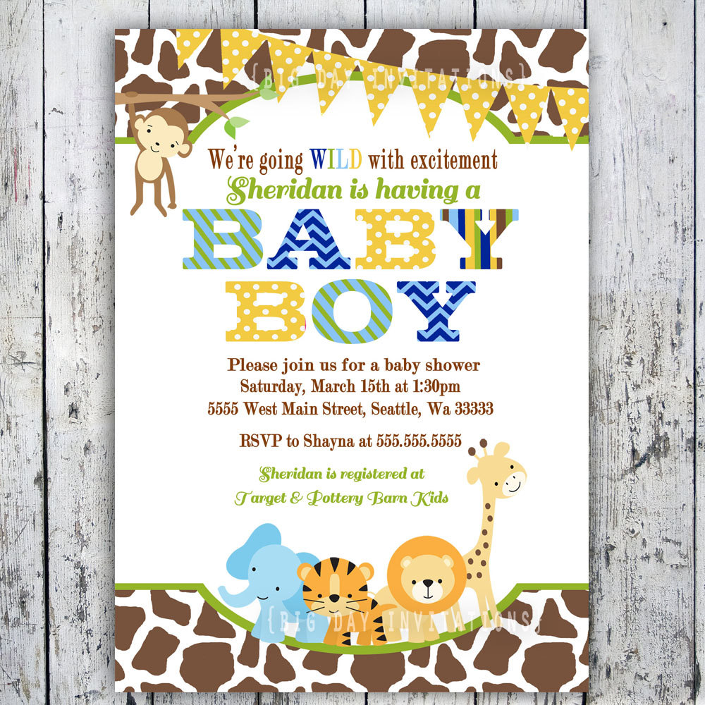 8 Images of Jungle Baby Shower Invitations Printable
