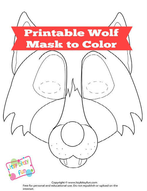 6 Images of Printable Wolf Mask