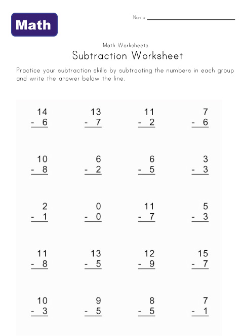 Number Names Worksheets subtraction sheet : Addition And Subtraction Worksheets Free Printables - Intrepidpath