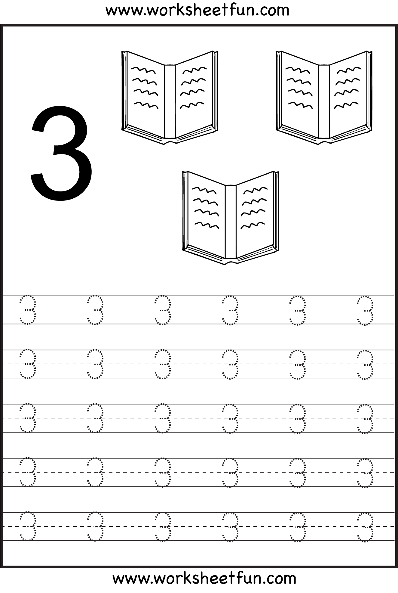 Number 3 Worksheet Pre K - K5 Worksheets
