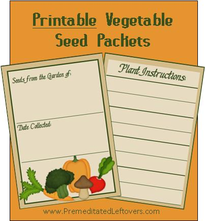 7 Images of Printable Vegetable Seed Packets