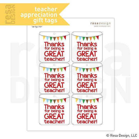 & Teacher Appreciation Gift Tag Printable