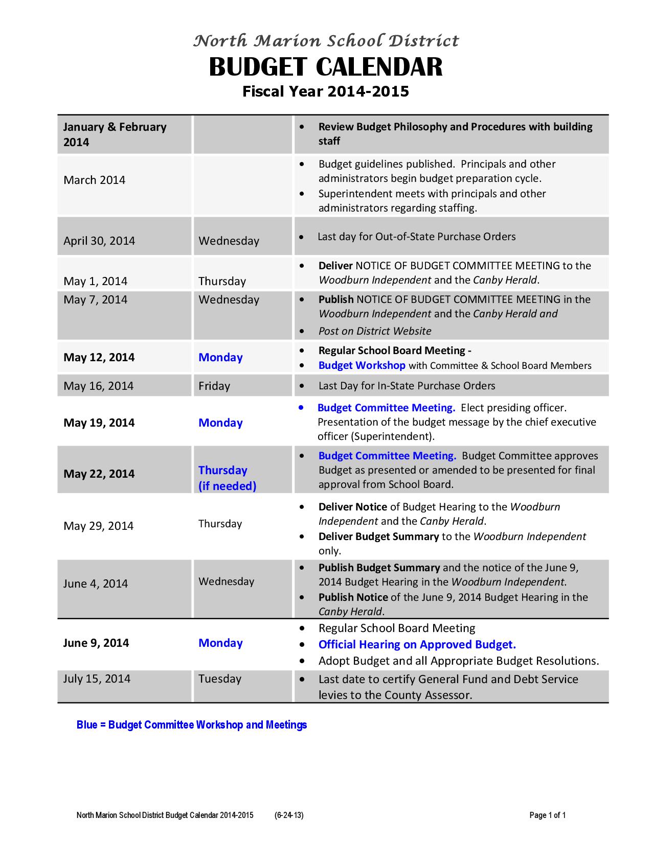 2015 Printable Calendar Budget
