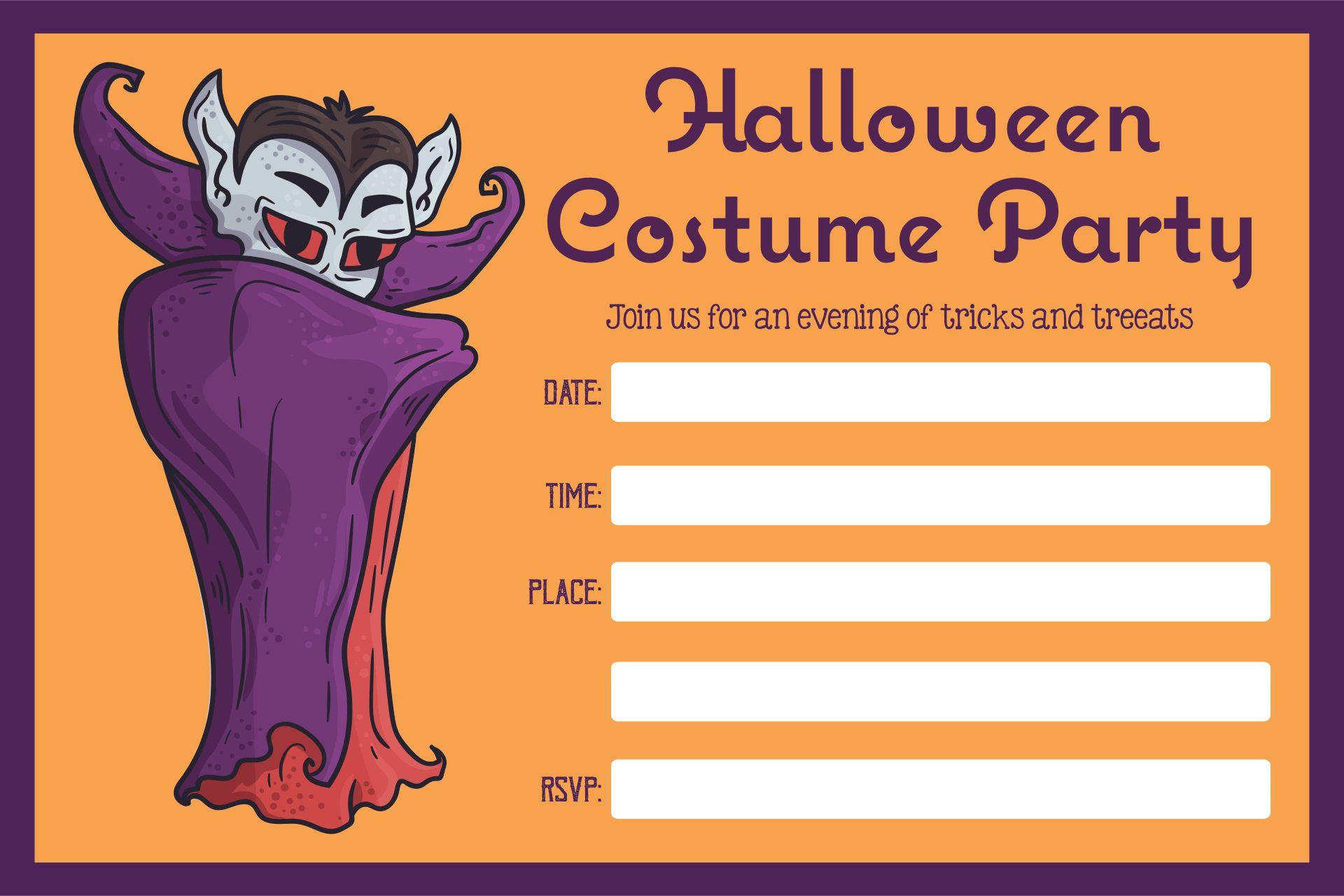 Adult Halloween Costume Party Invitations Printable