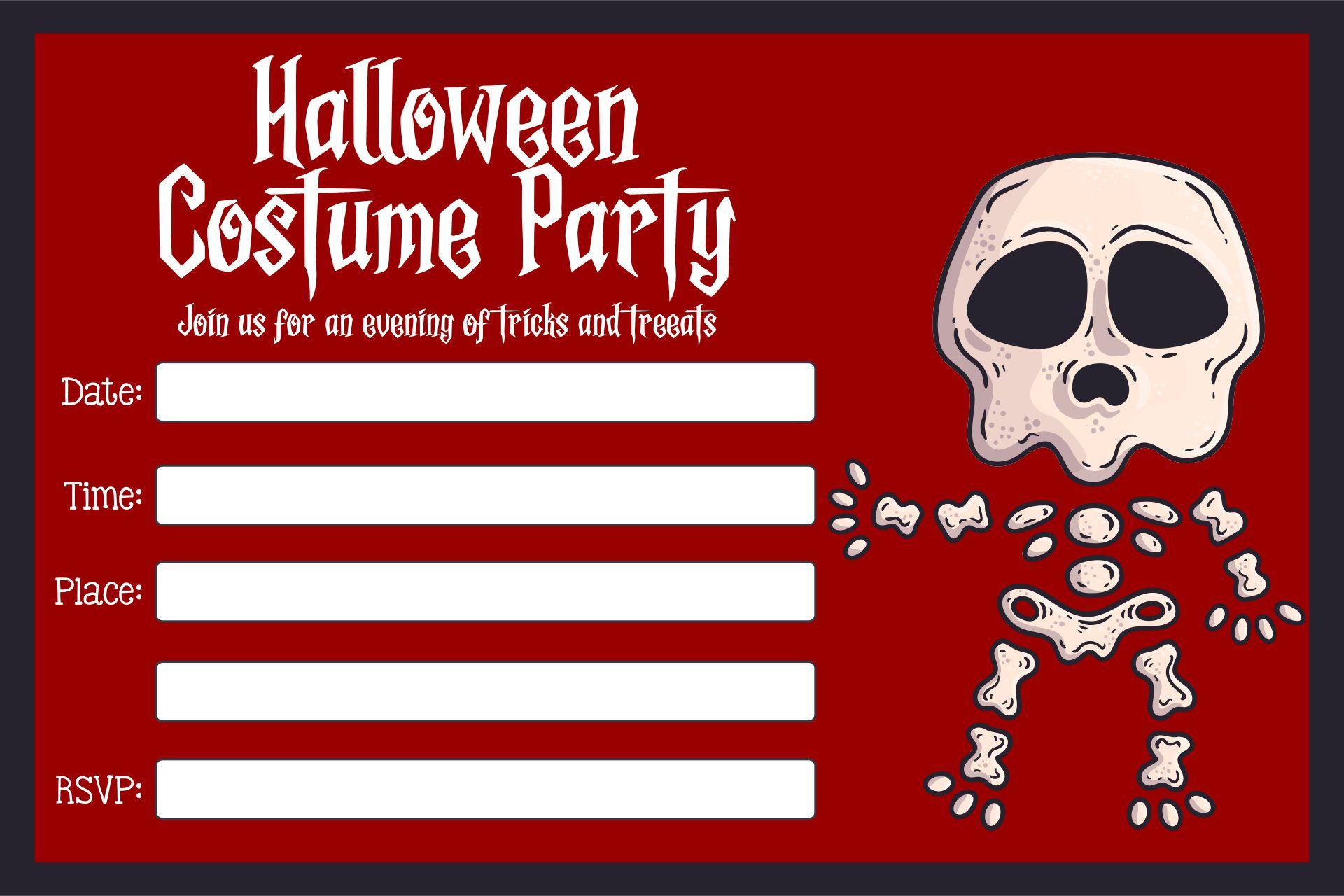 Adult Halloween Costume Party Invitations