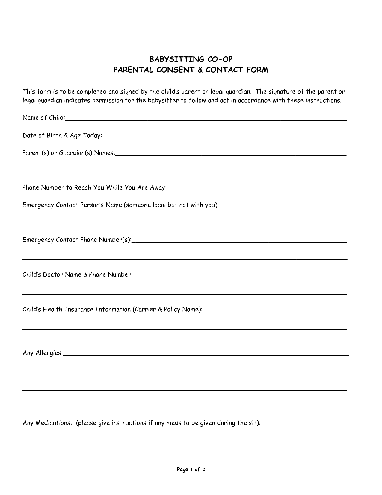 parental medical consent form template - 7 best images of red cross babysitting forms printable