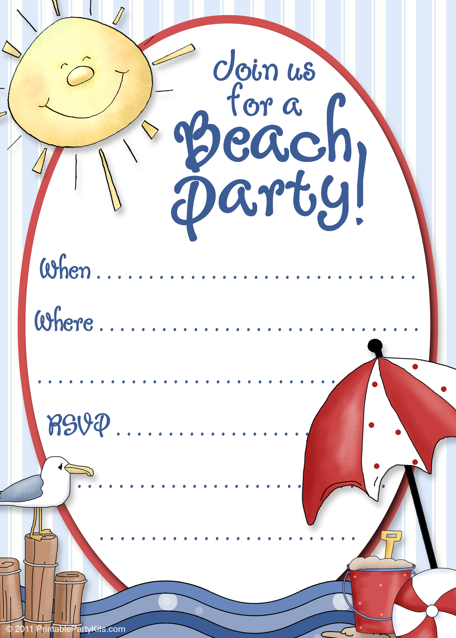 7 Images of Beach Party Invitations Printable