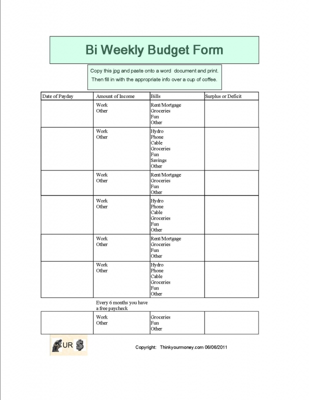 9 Images of Free Printable Bi-Weekly Budget Template