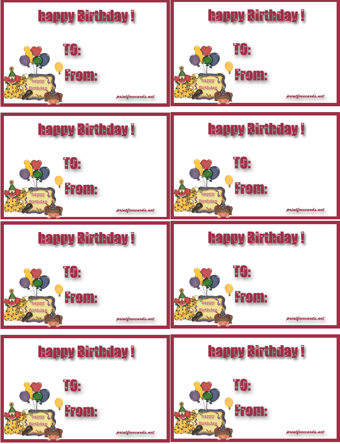 This is an image of Wild Free Printable Birthday Gift Tags