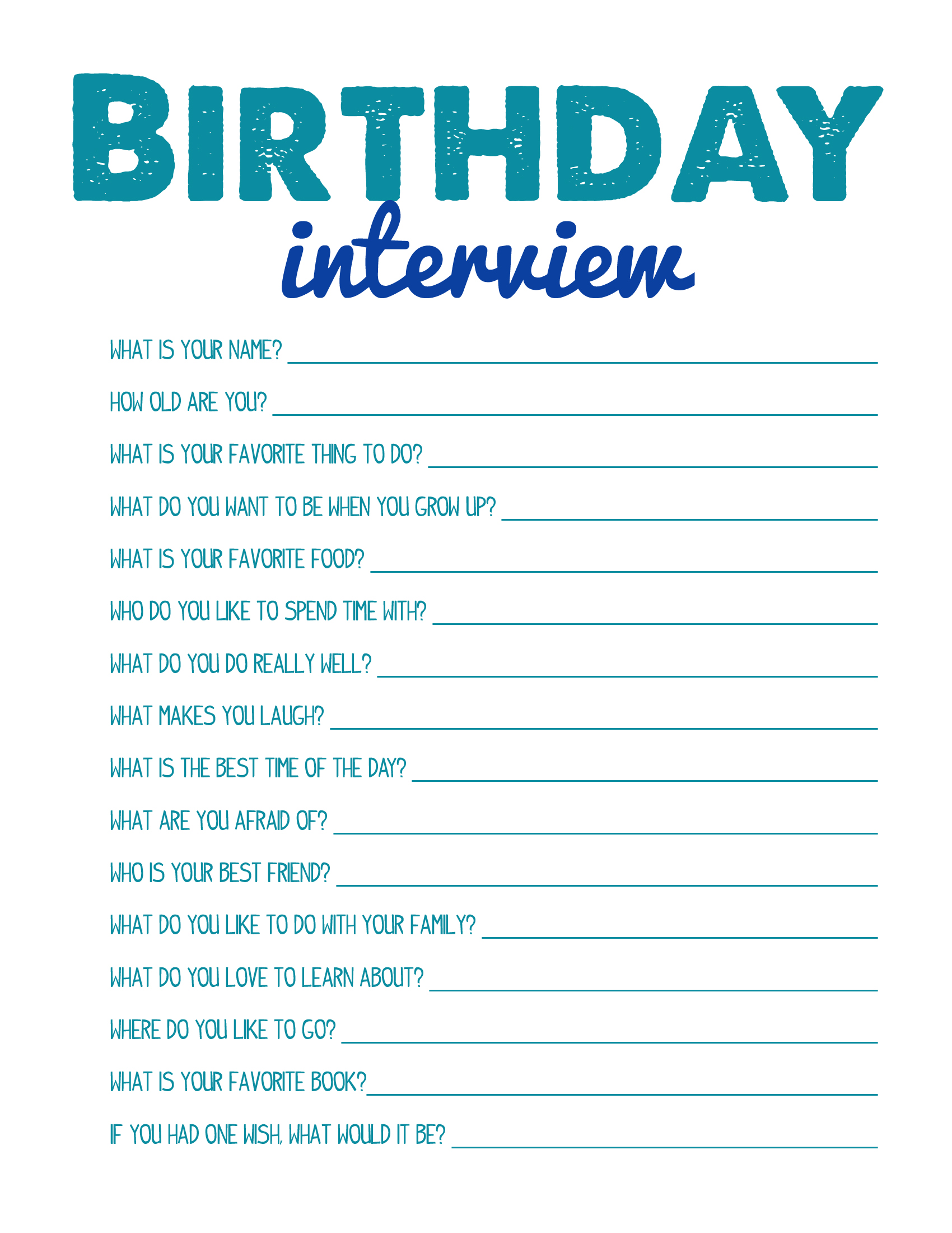Birthday Interview Printable