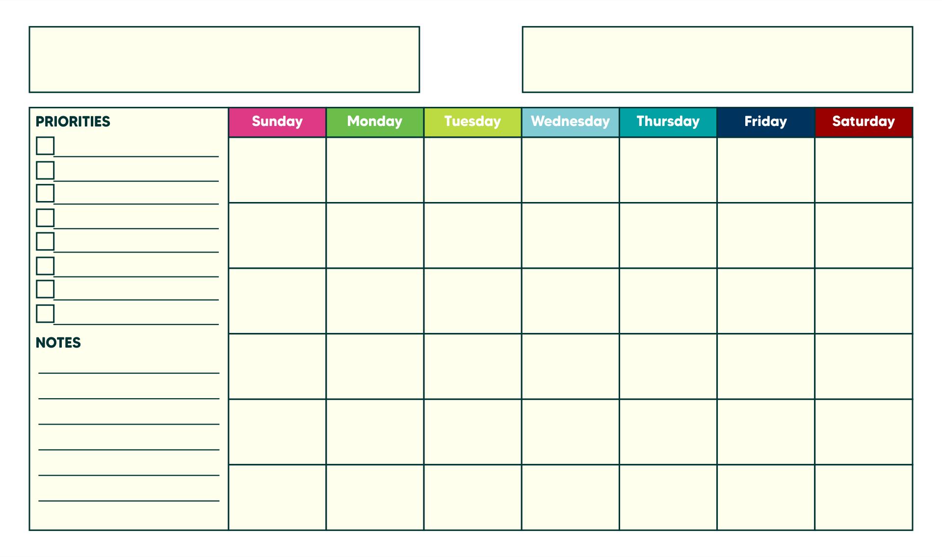 Blank Calendar Templates to Print