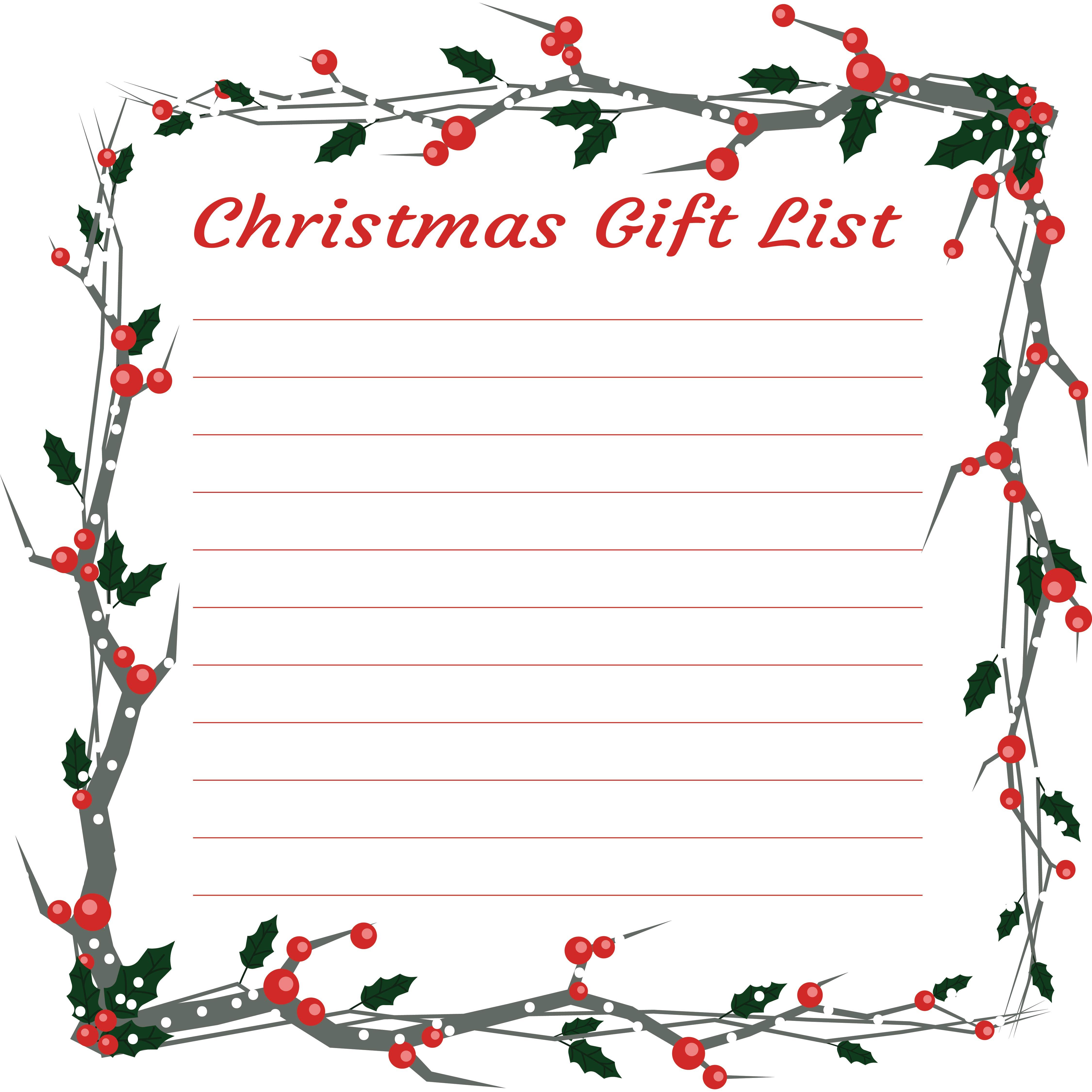 Blank Christmas Wish List Printable
