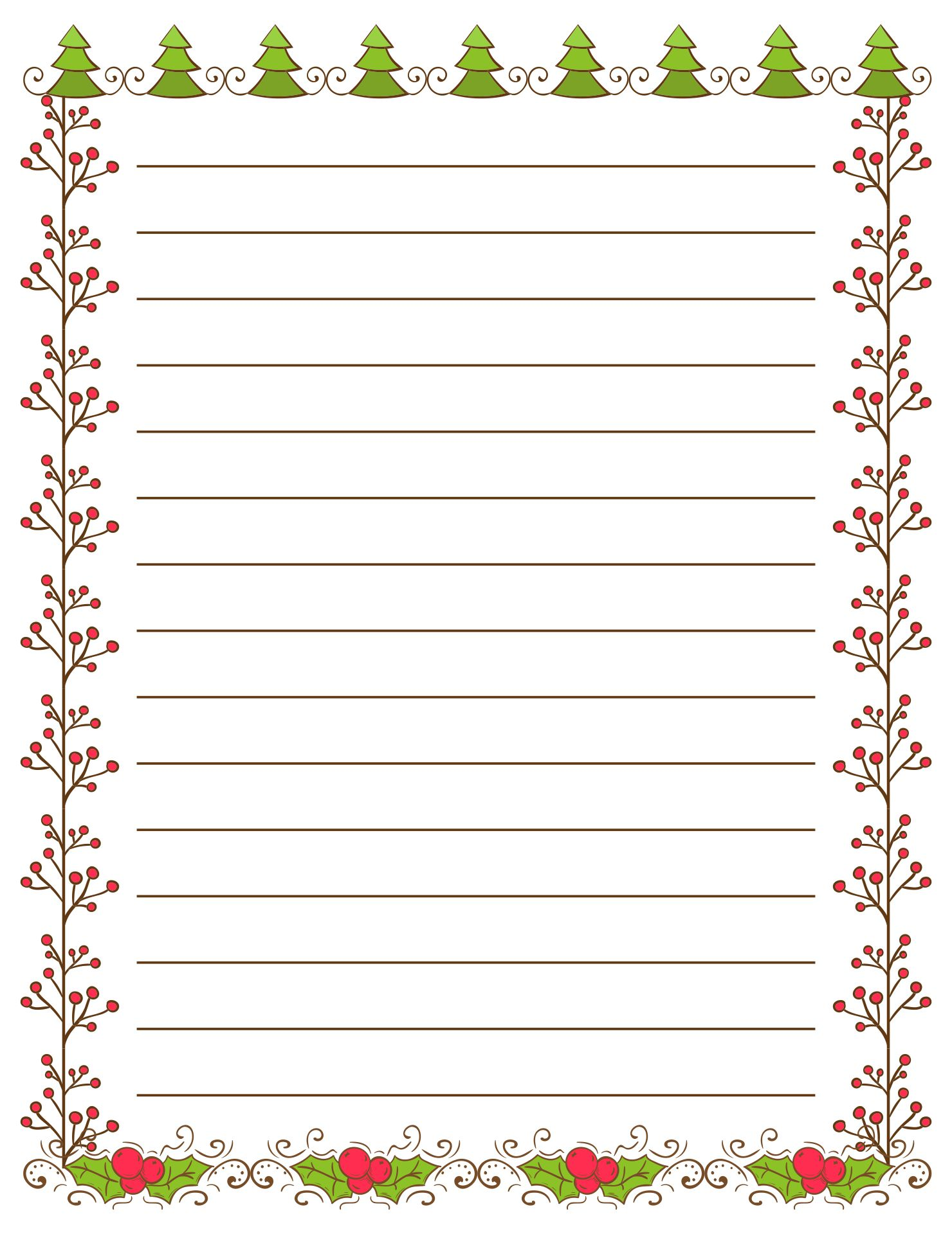 6 best images of christmas writing paper template printable
