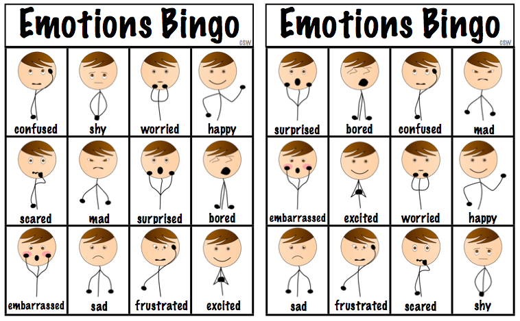 8 Images of Emotions Bingo Printable Game