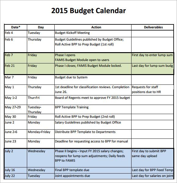 Budget Calendar Template 2015