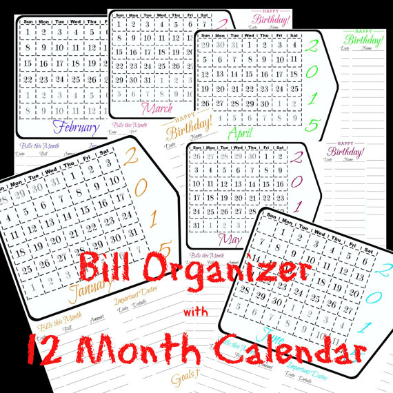 Calendar 2015 Printable Monthly Budget