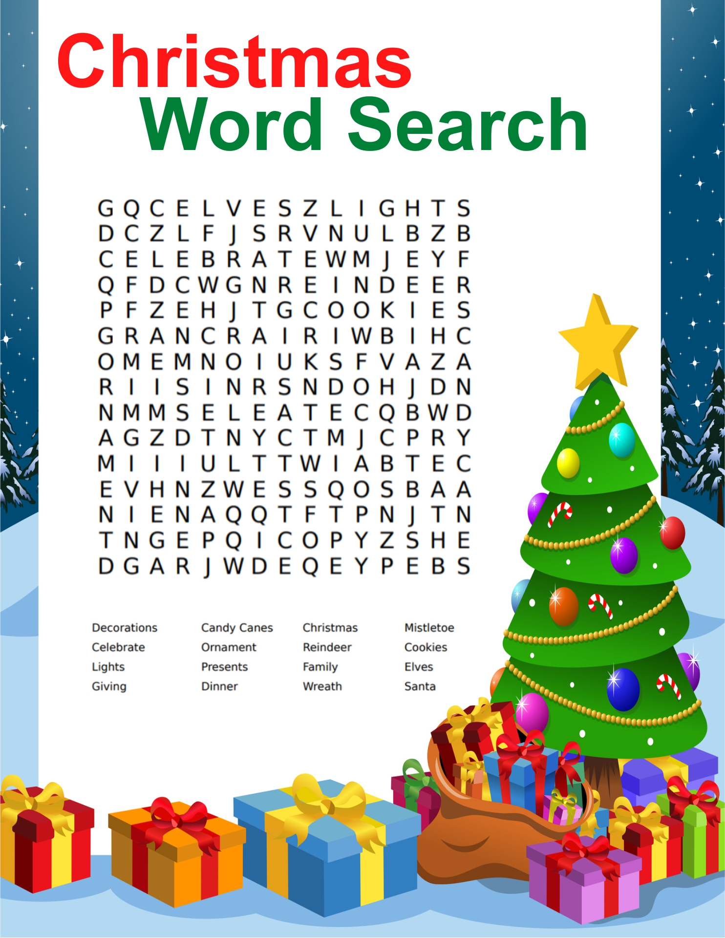 Christmas Word Search Puzzles for Adults