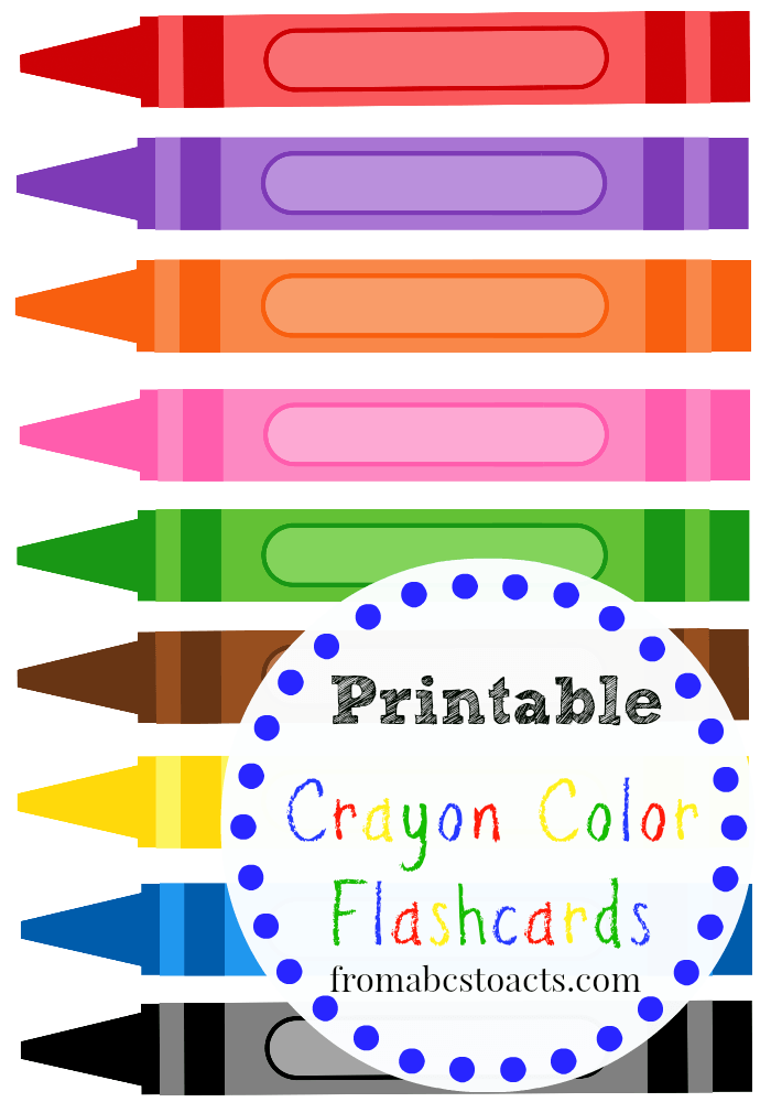4 Images of Crayons Printable Flashcards