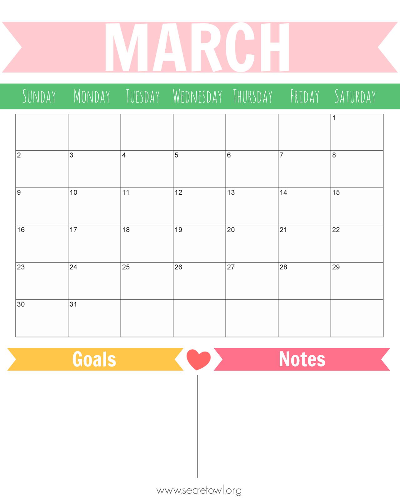 Cute March 2014 Calendar Printable