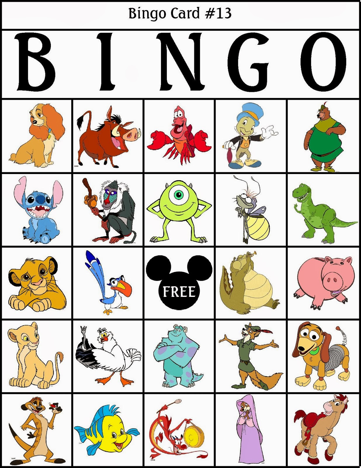 9 Images of Printable Disney Bingo