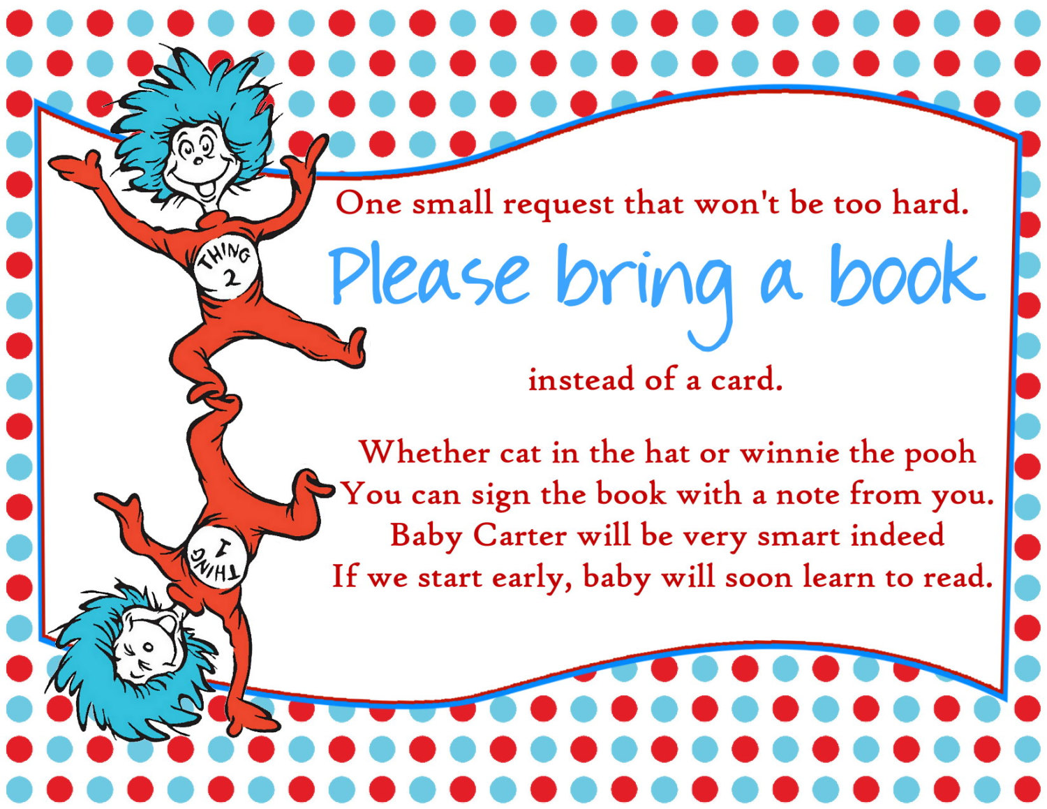 Dr Printable Seuss Baby Shower Bring a Book