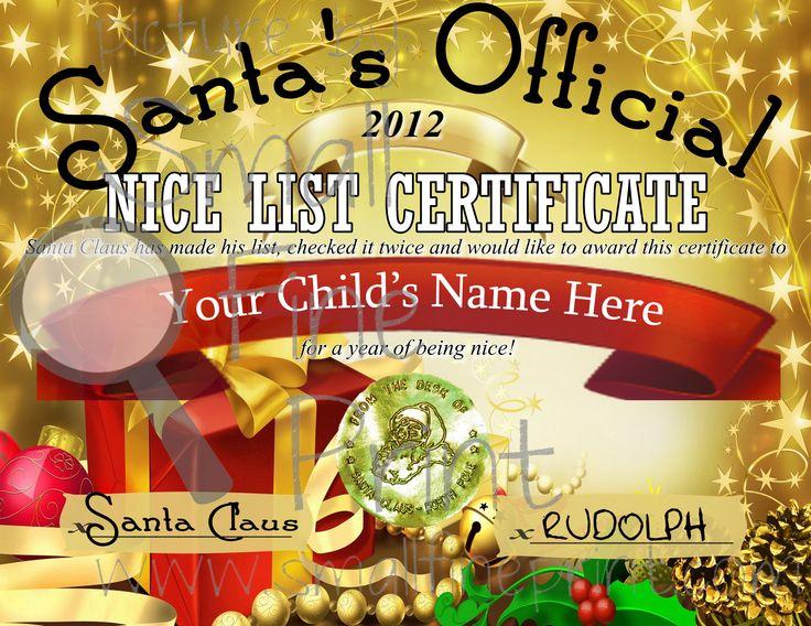 5 Images of Free Printable Santa Nice List Certificate