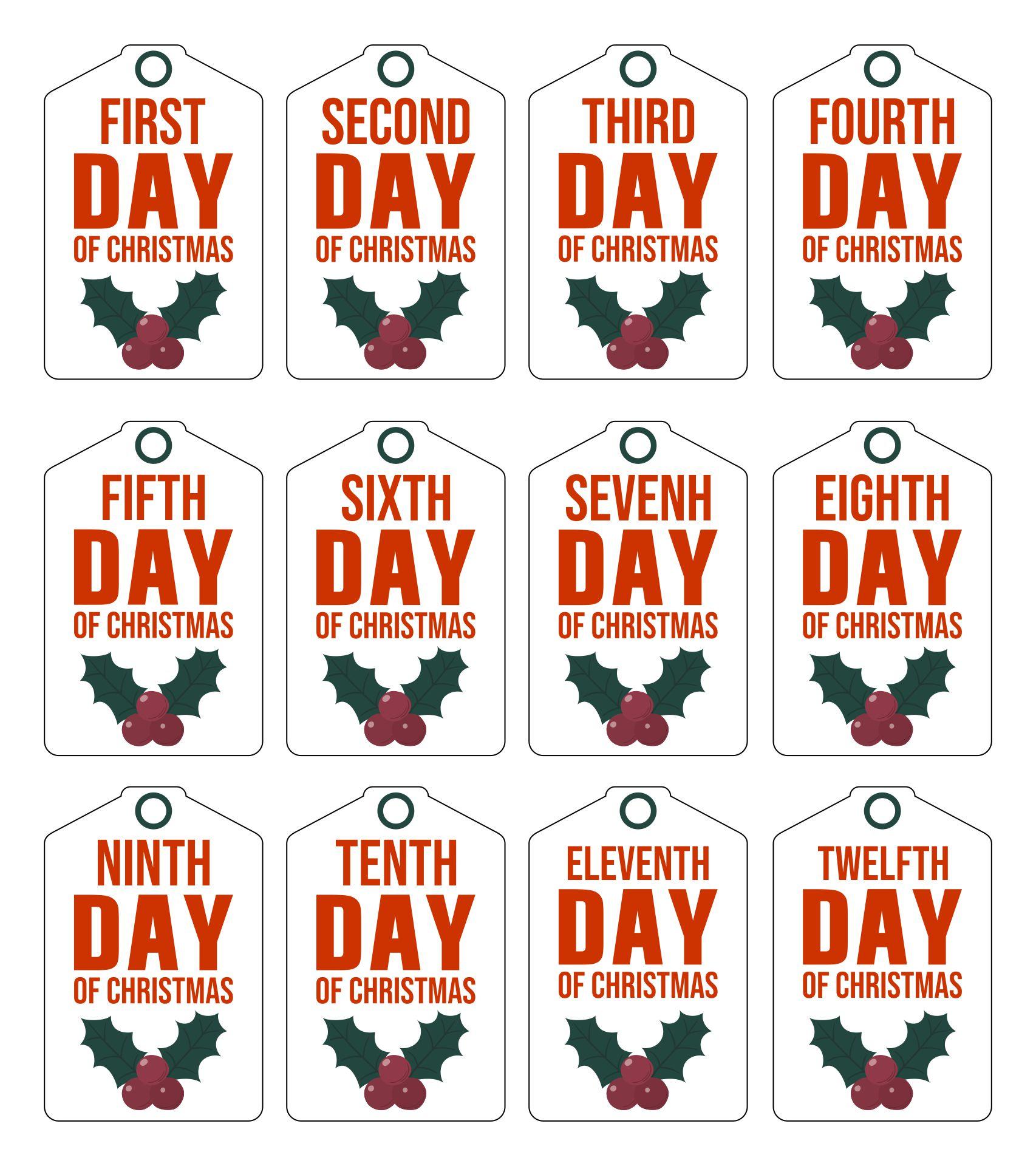 7 Best 12 Days Of Christmas Tags Free Printable Printablee Com