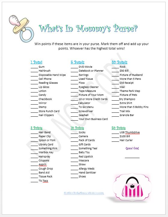 7 Images of Mommy's Purse Printable Game