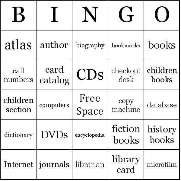 4 Images of Library Bingo Cards Printable