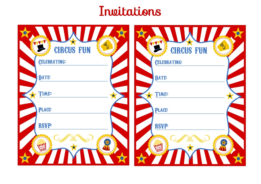 6 Images of Circus Birthday Printable Party Invitations