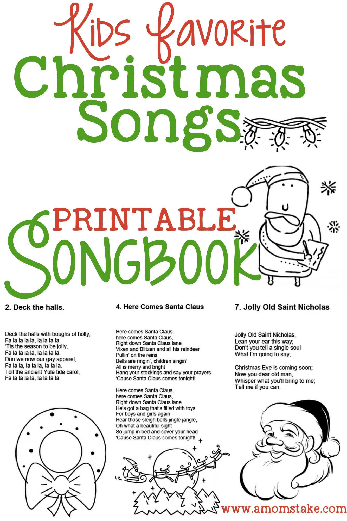 5 Images of Christmas Carol Songbook Printable