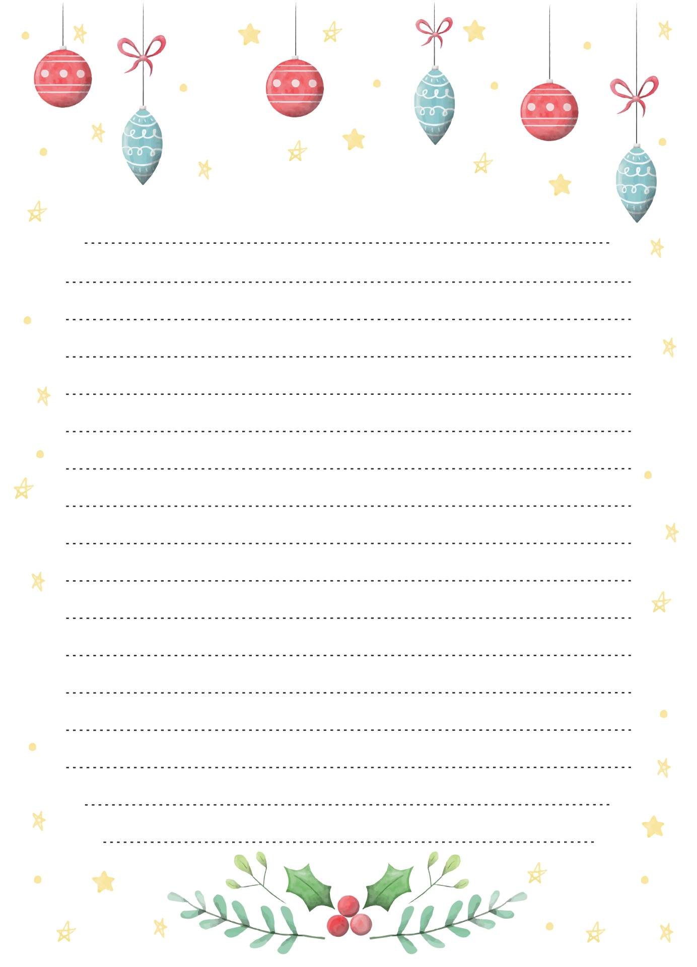 free printable lined paper template for kids - 6 best images of christmas writing paper template