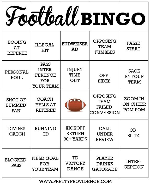 5 Images of Printable Football Bingo Cards