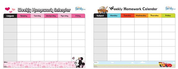 Homework assignment calendar