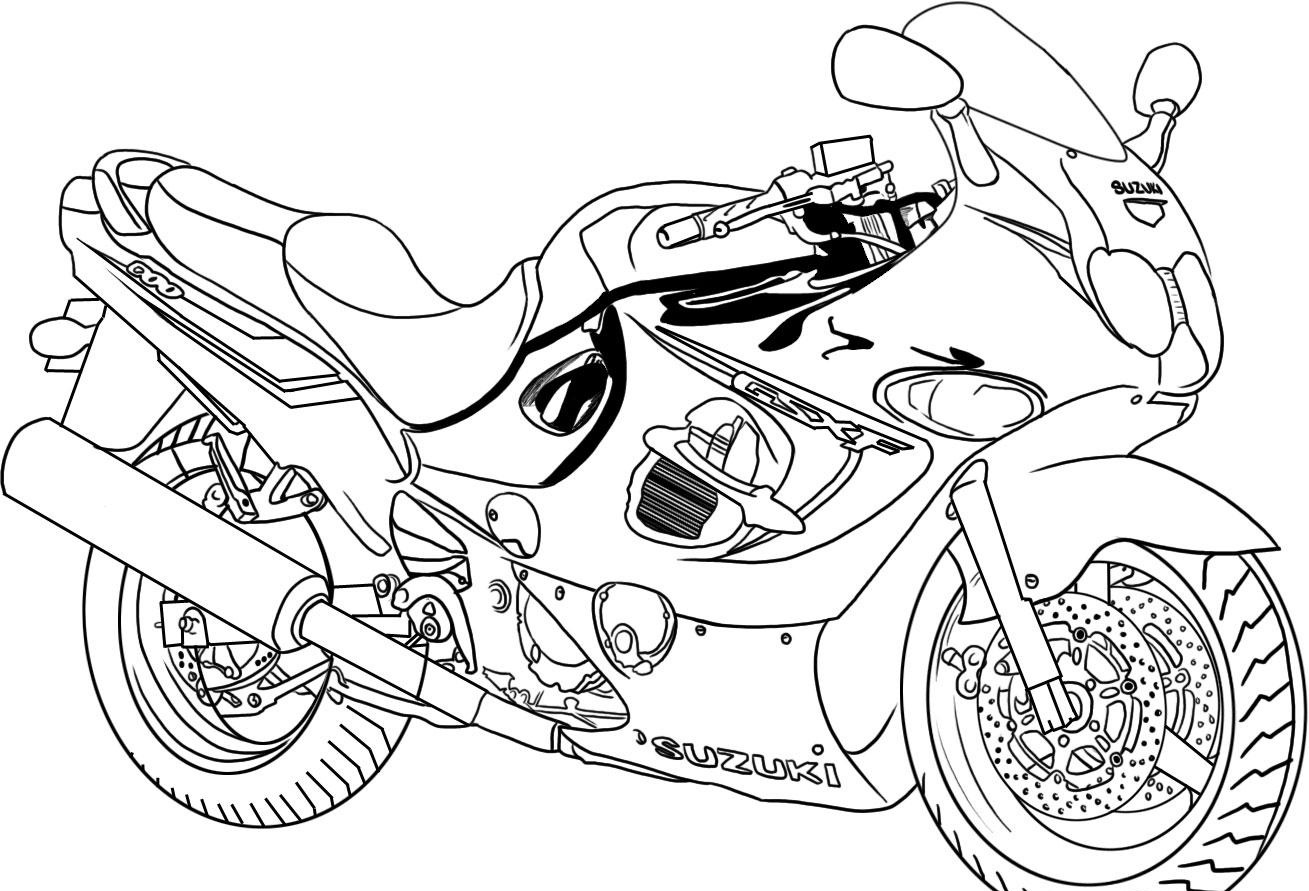 5 Images of Printable Motorcycle Coloring Pages