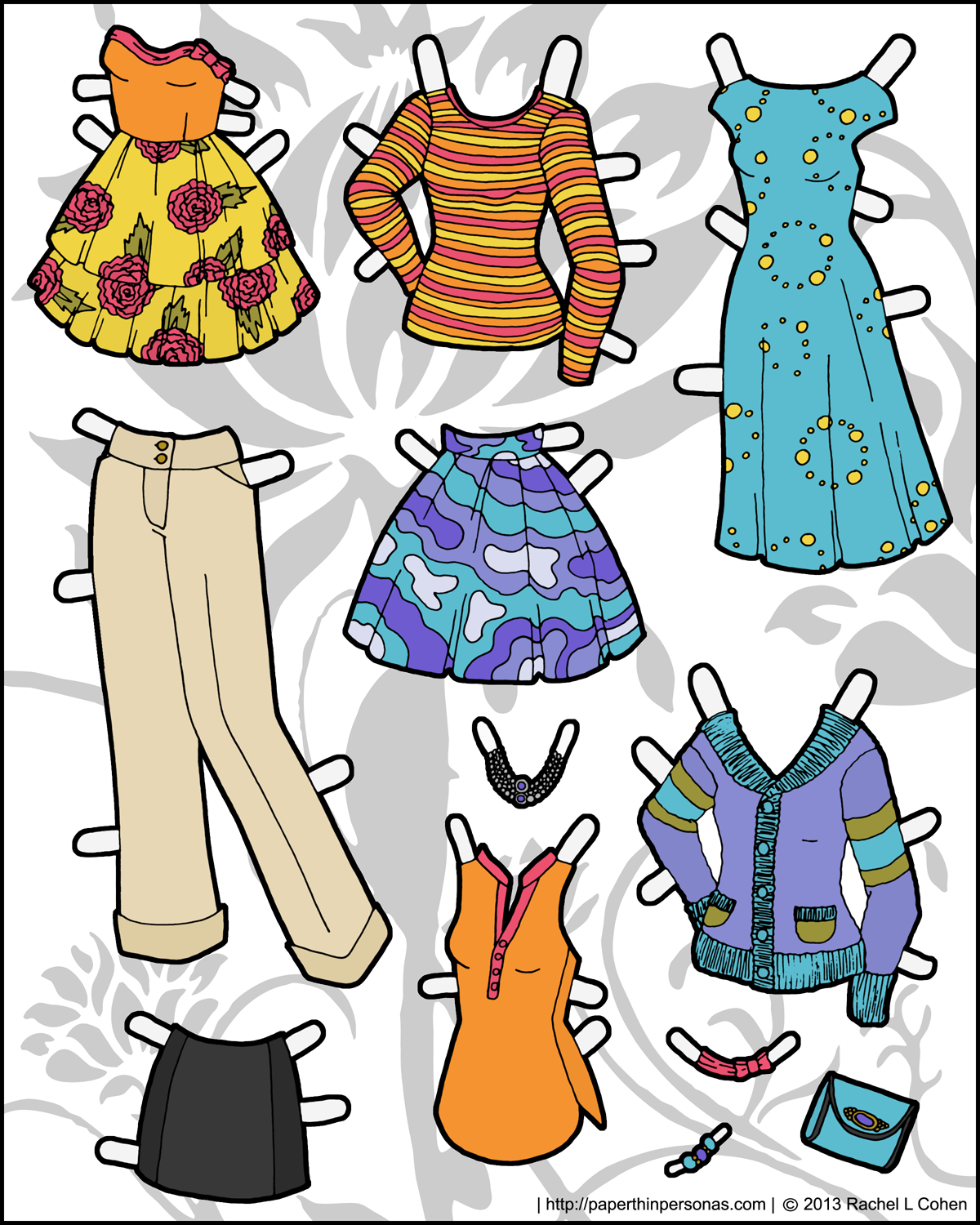 Effortless image inside paper doll clothes printable