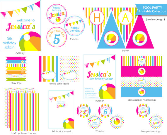 6 Images of Pool Party Printables
