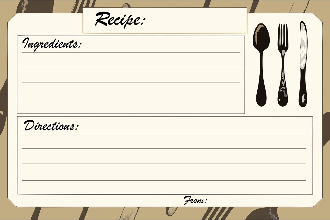 Printable Recipe Card Template 5 X 8