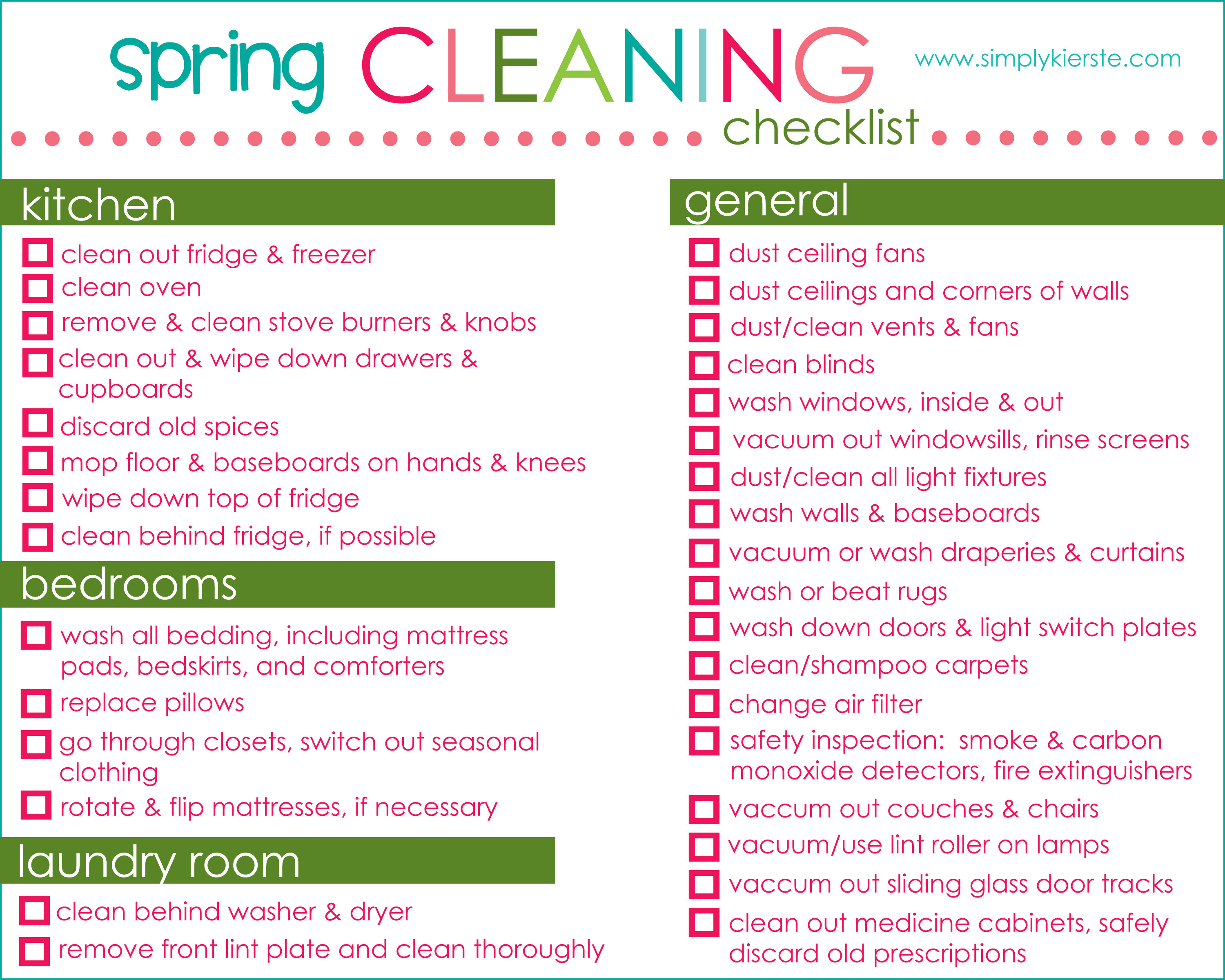 7 Images of Spring Cleaning Checklist Free Printable