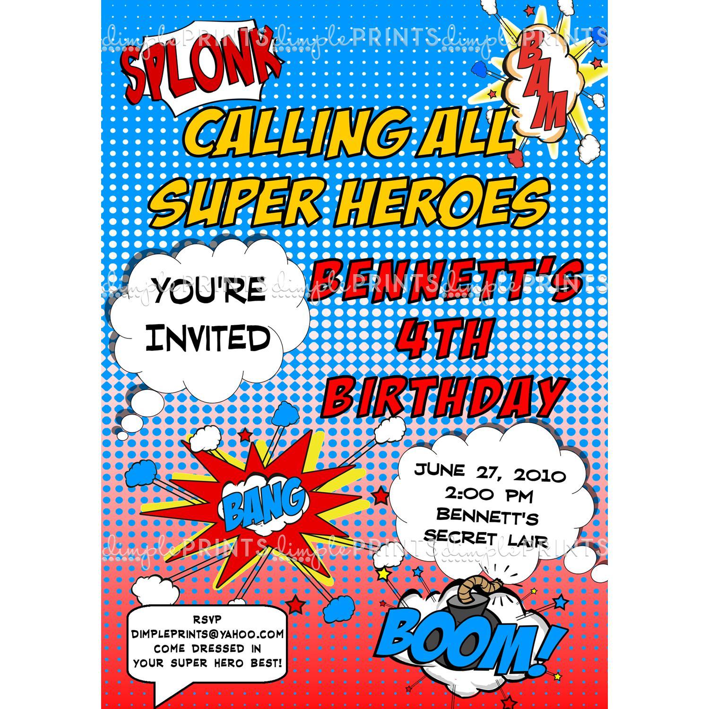 superhero invitation templates