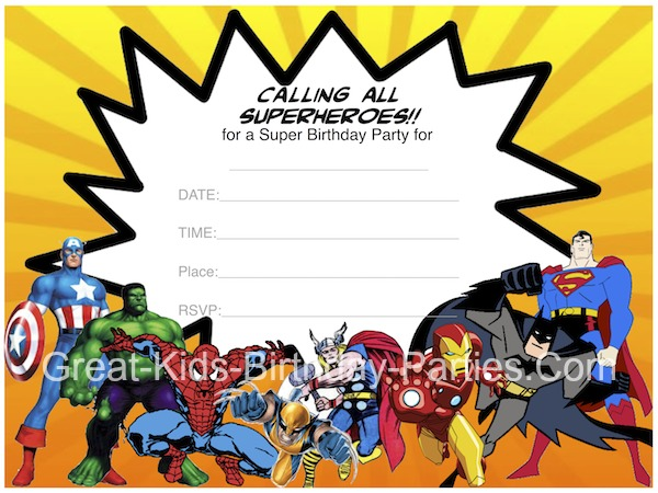 9 Images of Free Superhero Printable Invitations