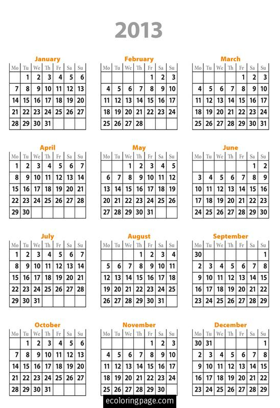 5 Images of Free Printable 2013 Calendar Year