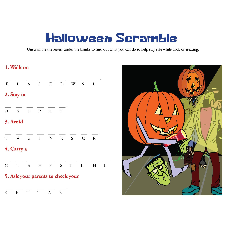 Fun Halloween Word Scramble Worksheets