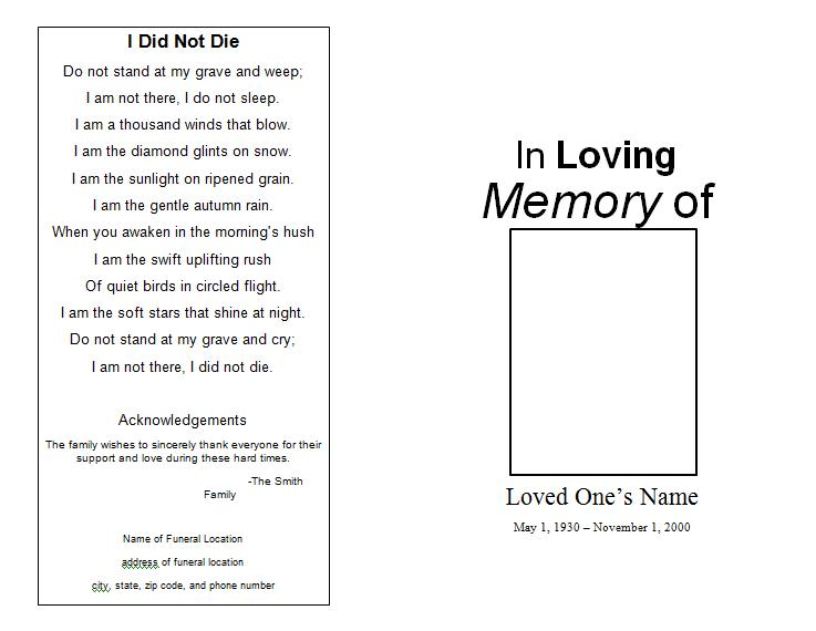 9 Images of Free Printable Memorial Program Template