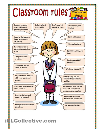 Classroom Design Should Follow Evidence ~ Best images of printable school rules worksheet