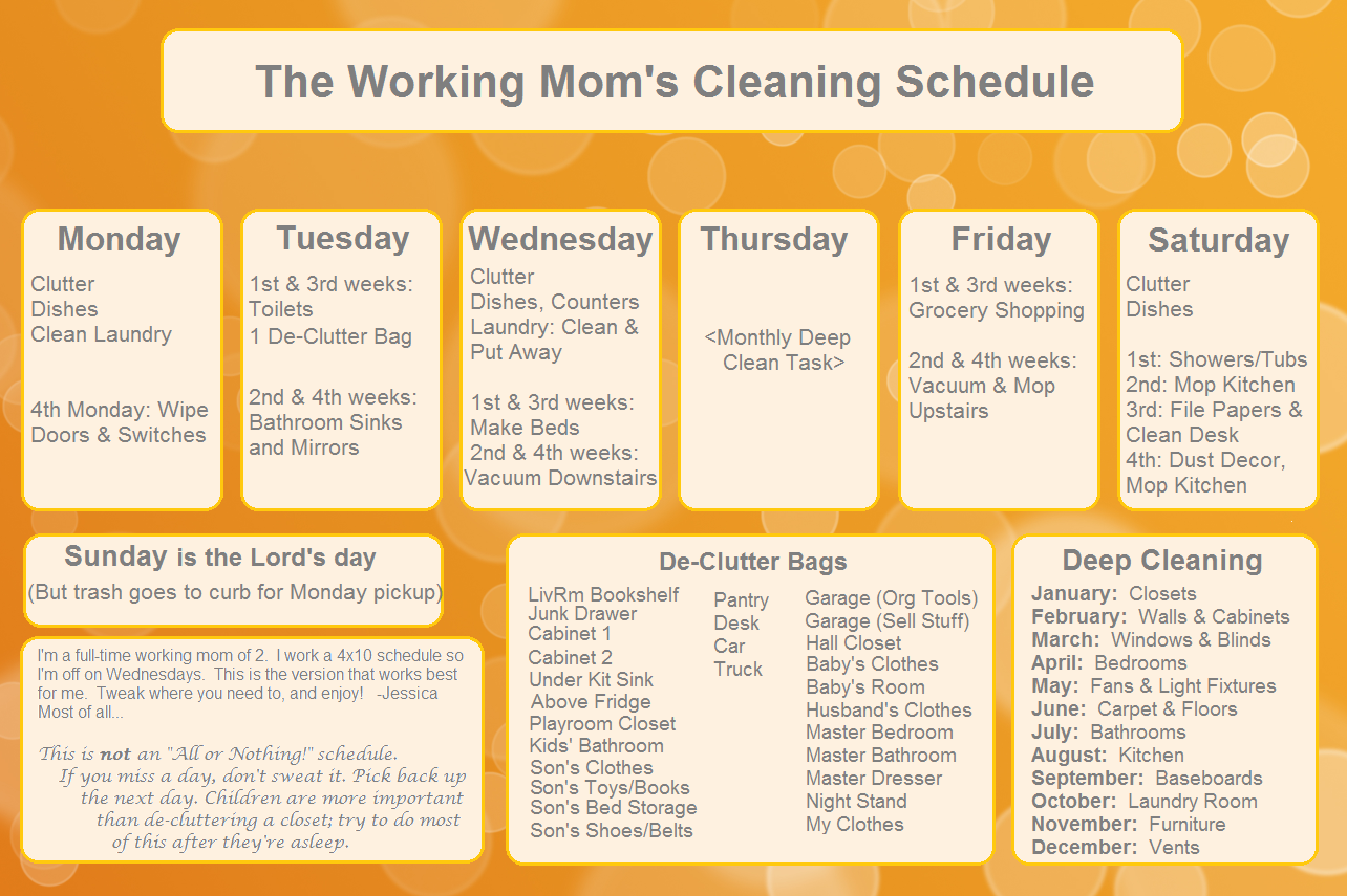 Free Printable Cleaning Schedule For Household Chores ...