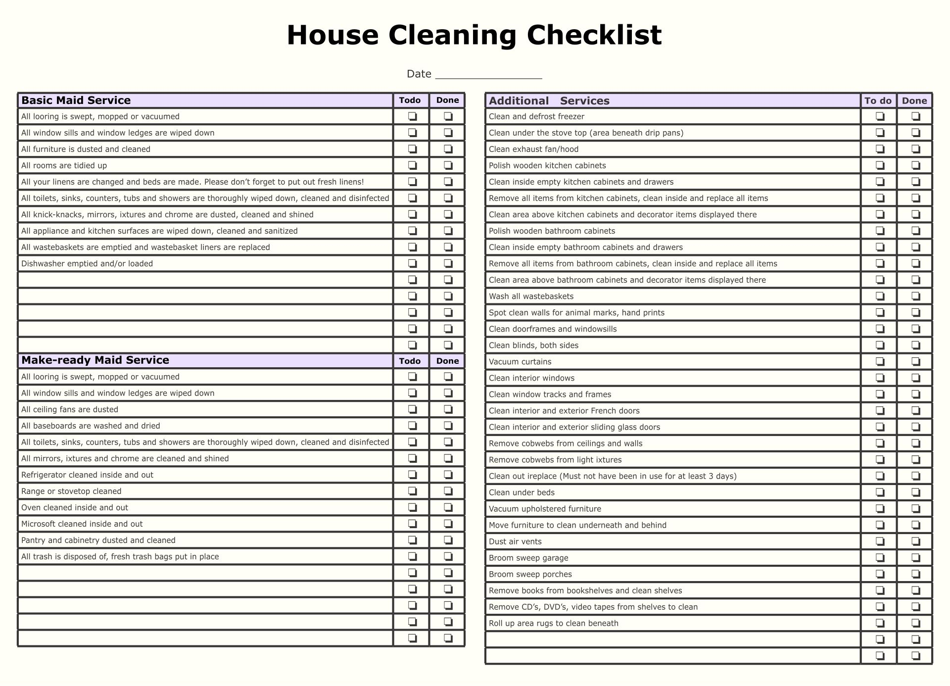 9 Best Maid Service Checklist Printable Printablee Com